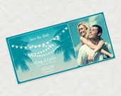 save the date boarding pass ticket - printable diy - tropical nights, photo airline destination wedding announcement lights palm tree sunset
