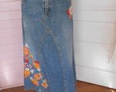 1960's Hippie Jean Skirt - Size M