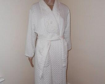1960's White Cotton Bathrobe - Size M