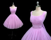 Vintage 1950s Orchid Chiffon Lace Full Skirt Cocktail Party Dress with Back Drapes L