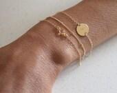 Dainty Clear Quartz bracelet - gold filled - single gemstone - gold chain bracelet