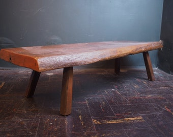 Antique 1800s Primitive Natural Wooden Bench Seat