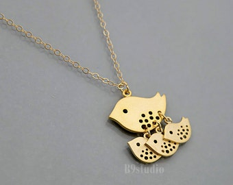 Mother bird necklace, Mama bird necklace family jewelry gift, small bird 1 2 3 baby birds charm, gold filled chain, love necklace for mom