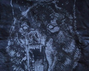 WOLF Back-Patch, Grey on Jet Black Cotton Fabric, Beeswaxed cotton waterproofing, LARGE or Medium