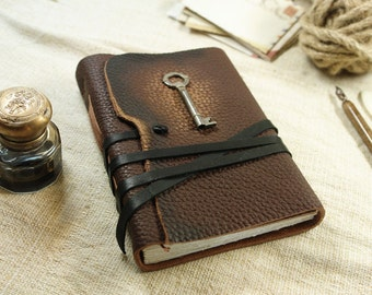 leather journal with key, brown cover, free personalization diary, notebook, blank book