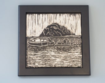 Ceramic Art Tile with Fishing Boats in Morro Bay - Framed Ceramic Tile - Wall Tile - Framed Tile - Black and White - Sgraffito - Carved Tile