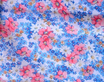 Vintage Fabric - Coral Pink and Blue Flowers - 44 x 52