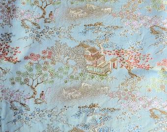 Vintage Fabric - Silky Blue Aqua Brocade Pagoda Cherry Blossom - 28 x 41