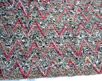 Vintage Woven Boucle Fabric - Curly Embroidered Chevron Textile  55 x 66
