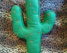 Green cactus Cushion with Orange hand sewn needles. Novelty felt cushion. Handmade cushion.