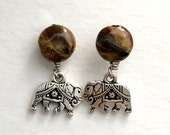 Elephant Earrings with Agate