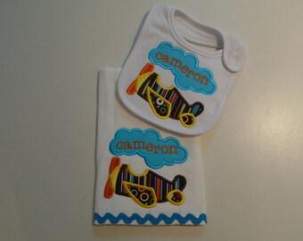 Baby Boys Airplane Bib and Burp Cloth set with Monogram