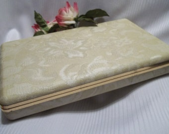 Stunning Vintage Women's Ivory Floral Brocade Mele Jewelry Box / Case - Mad Men - Vanity - Shabby Chic