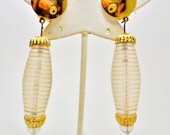 Vintage Lucite Pop Art Translucent 3 1/2 Inch Dangle Earrings Clip Mod 60s Modern Space Age Diva Art Deco Retro Chic Runway Statement