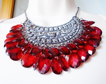 Vintage Ornate Ruby Valentine Red Necklace Choker Collar Bib Waterfall Art Nouveau Faceted Teardrop Dangles Victorian Style Runway Statement