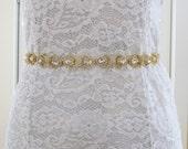 Gold Crystal Rhinestone Bridal Sash,Wedding sash,Bridal Accessories,Bridal Belt and sashes,Ribbon Sash,Style #28