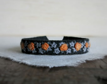 Orange Roses Textile Art Cuff Bracelet - Orange and Grey Floral Design on Black Linen Cuff Bracelet