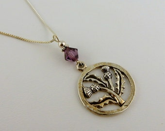 Thistle And Bee Sterling Silver Necklace