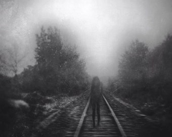 surreal haunting portrait, dreamy ghost woman photo, train tracks, disappearing girl, dramatic, home decor, fine art, gothic magic ghostly