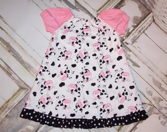 Daisy the Cow Baby Ruffled Peasant Dress 0 3 6 12 18 24M Baby Shower Gift Made in USA by That's So Addie Farm Barnyard Birthday Moo