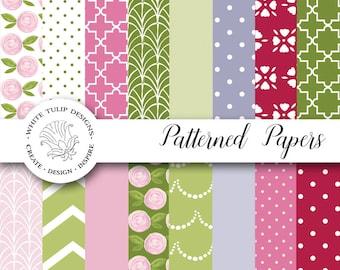 Digital Papers -Spring Flowers Jpeg, 300 DPI, 12x12, pink, green, lavender, handpainted flowers, 16 designs