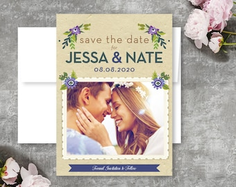 Purple Wreath Botanical Wedding Save The Date Card  - Printable PDF or Printed Cards and Envelopes