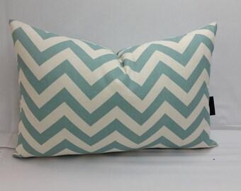 "RTS Village blue and natural zig zag chevron pillow 18"" x 12"" zigzag"