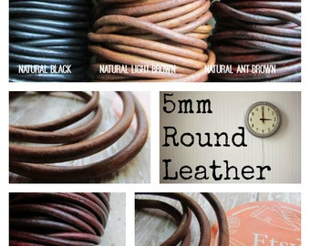 5mm Natural Dye Leather Cord for Bracelets, 5mm leather, 5mm Round Leather Cord, Distressed Leather, leather, leather cord, brown leather