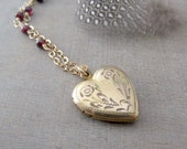 Gold Heart Locket, Gold Locket Necklace, Vintage Locket Pendant, Garnet Necklace, January Birthstone Locket, Repousse Locket, Push Present