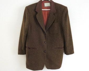 Vintage patchwork jacket Patchwork Laura Jefferies blazer Oversized boyfiend jacket Unstructured Womens Herringbone Houndstooth Suede collar