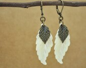 antiqued brass vintage earrings, feather earrings, IVORY, vintage lucite pearly white leaf charm with brass leaf charm earrings