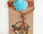 Turquoise Slab Bolo, leather wrap bracelet, choker