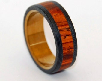wood ring, wooden ring, Titanium Wedding Ring, Cocobolo, Wedding Band, Carbon Fiber, Mens Band, Bronze, Wedding Ring - BECAUSE HE CAN
