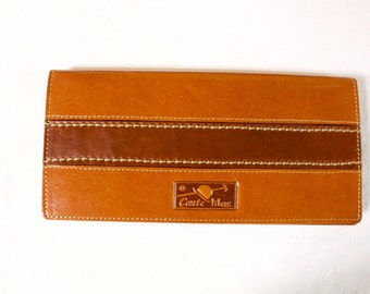 Vintage Men's Brown Leather Wallet by Conte Max unused made in Italy