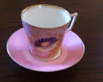 Antique Pink Luster hand Painted Aster Flower, Antique Porcelain, English Luster Ware, 1800 Pink Luster, Hand Painted China, **U S A ONLY**