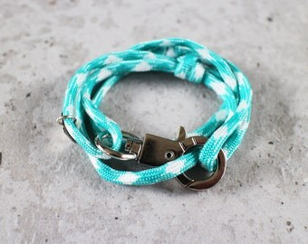 Cord Tiga - white turquoise mike paracord cord wrap bracelet with silver metal clasp, unisex, adjustable size, limited edition