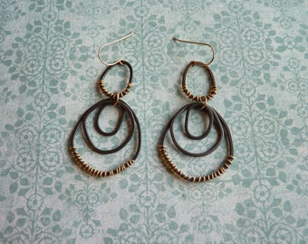 Large Silver Hoop Earrings - Oxidized Sterling Silver Hoops with Goldfill Wire Wrap   Handcrafted Jewelry