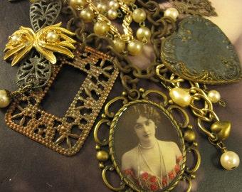 "SALE! Handmade Vintage Assemblage Necklace, """"Roaring 20's"", Vintage Coro Necklace, Vintage Brooch, Vintage Photo, Vintage Brass, Free Ship"