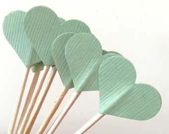 Sage Green Heart Cupcake Toppers , Appetizer picks, wedding decor, bridal and baby shower decor