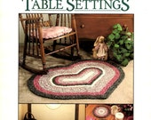 Easy to Crochet Fabric Rugs Table Setting Country Look Hearts Circle Round Oval Placemat Coaster Mat Craft Pattern Leaflet Leisure Arts 2235