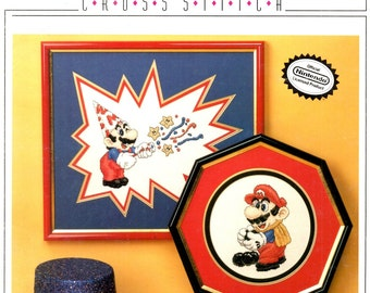 Party Mario Bowling Mario Nintendo Video Character Pointed Hat Star Streamer Counted Cross Stitch Embroidery Craft Pattern  Leaflet 9011