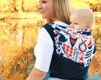 Hybrid Stretch Wrap Baby Carrier -Front & Back Carries -Anchors Away -Comfort of a Stretchy Wrap with the Support and Versatility of a Woven