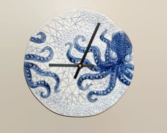 NEW! Navy Blue Octopus Wall Clock 8-1/2 Inches, Beach House Decor, Unique Wall Clock, Wall Decor, Coastal Home Decor, Octopus Clock - 1798