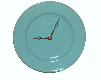 Modern Wall Clock / 8-3/4 Inch Stoneware Plate Clock / Wall Decor / Kitchen Clock/ Kitchen Decor / Teal Home Decor / Turquoise Clock 1770