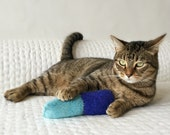 Organic Catnip Toy For Charity Wool Felt Twist Kicker Hand Knitted Felted Blue For Cats Pets Entire purchase Price Goes To Charity
