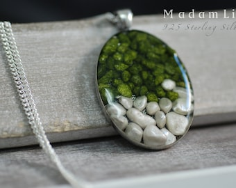 925 Silver Try Pebble Stone Necklace