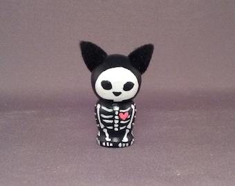 Single Skeleton Pet Kokeshi Doll Dog or Cat