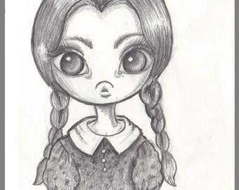 Day #355 - Head Full of Things - Wednesday the addams family halloween - original sketch a day drawing! 5.5 x 8.5