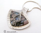 Llanite Sterling Silver Necklace, Unique Natural Stone Jewelry, Artisan Handmade Silver Jewelry, Blue Stone Pendant, One of a Kind Jewelry
