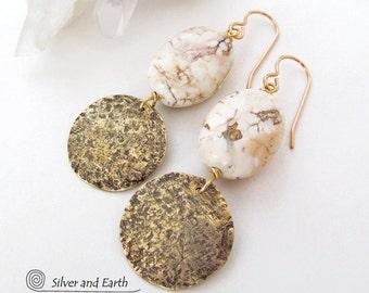 Gold Dangle Earrings, Hammered Brass Earrings, White Stone Earrings, Natural Stone Jewelry, Artisan Handmade Earthy Modern Everyday Jewelry